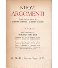 Nuovi Argomenti. N.31-32. Marzo-Giugno 1958.