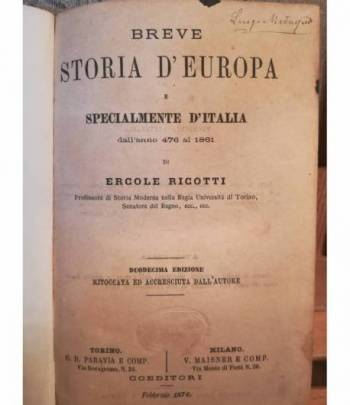Breve storia d'Europa e specialmente d'Italia dall' anno 476 al 1861.