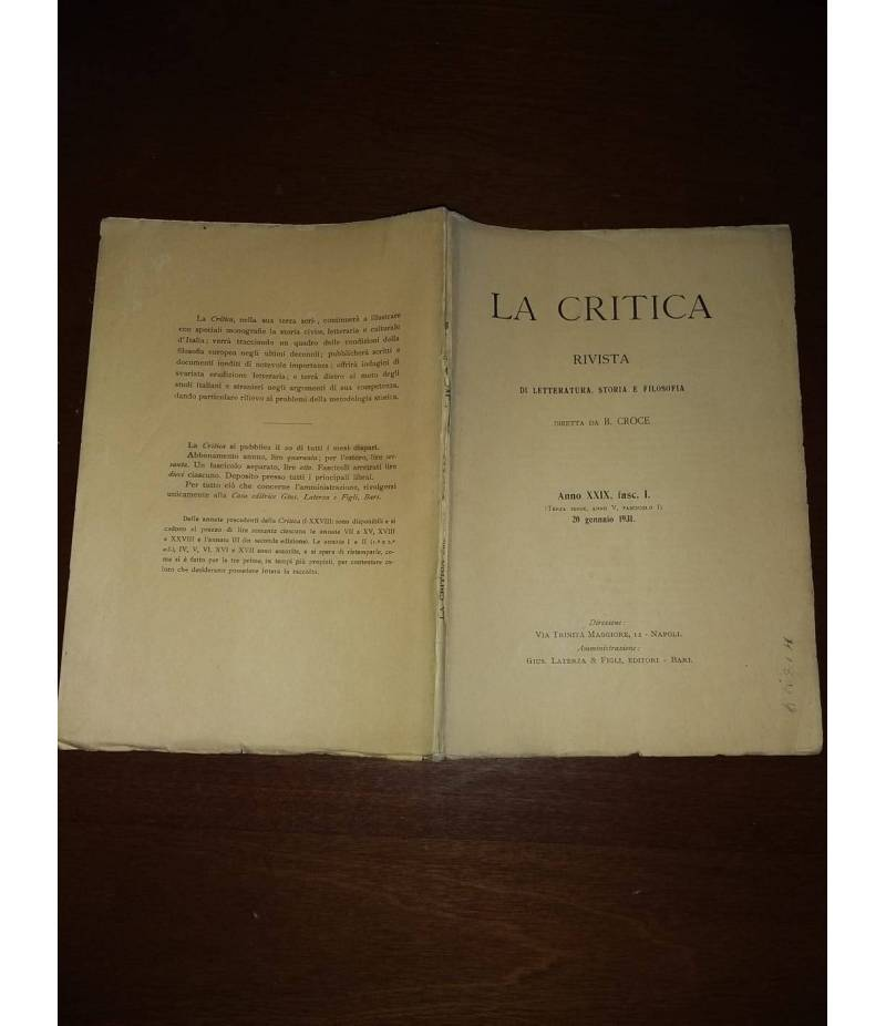 La critica rivista di letteratura, storia e filosofia