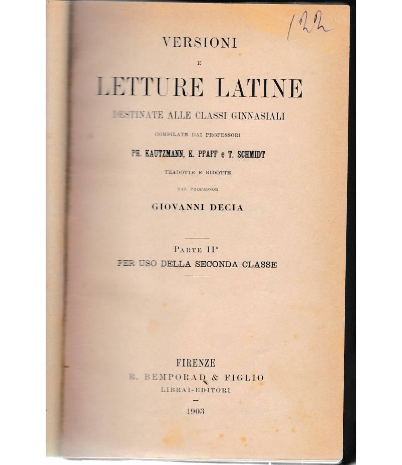 Versioni e letture latine destinate alle classi ginnasiali