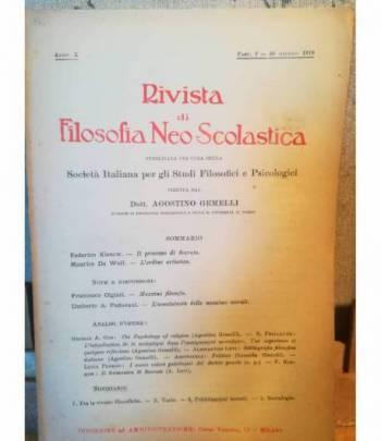 Rivista di filosofia neo-scolastica. Anno X. 30 giugno 1918. III. Direttore: Agostino Gemelli.