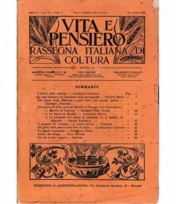 Vita e pensiero. Rassegna italiana di coltura anno I - volumi secondi, sette fascicoli 1915