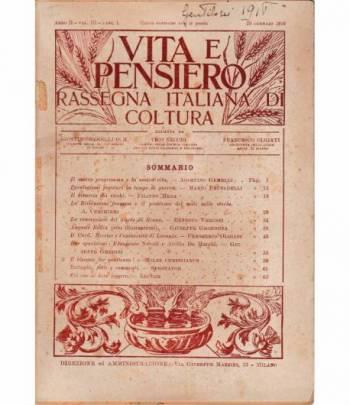 Vita e pensiero. Rassegna italiana di coltura - anno II - terzi volumi - 9 fascicoli 1916