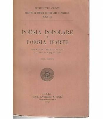 Poesia popolare e poesia d'arte. Studi sulla poesia italiana dal tre al cinquecento